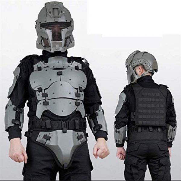 EBWLI Airsoft Tactical Vest 2 EBWLI Paintball Helmet and Armor Set, Hunting Paintball Protective Carrier Shooting Accessories with Waist Belt, for Airsoft/Nerf Game/Paintball,Black (Color : Gray)