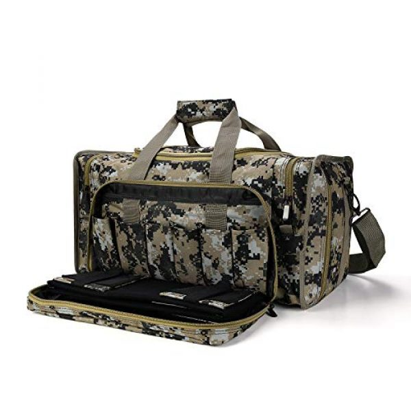 SoarOwl Pistol Case 1 SoarOwl Tactical Gun Range Bag Shooting Duffle Bags for Handguns Pistols with Lockable Zipper and Heavy Duty Antiskid Feet (Camouflage)