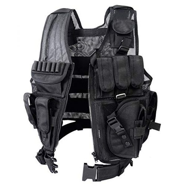 GXYWAN Airsoft Tactical Vest 4 GXYWAN Tactical CS Field Vest Paintball Training Airsoft Ultra-Light Breathable Combat Adjustable Vest(Black)