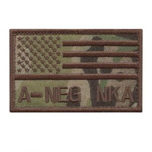 LEGEEON Airsoft Morale Patch 1 LEGEEON ANEG A NEG Blood Type Multicam OCP USA America Flag NKA NKDA No Known Allergies IFAK Morale Tactical Hook&Loop Patch