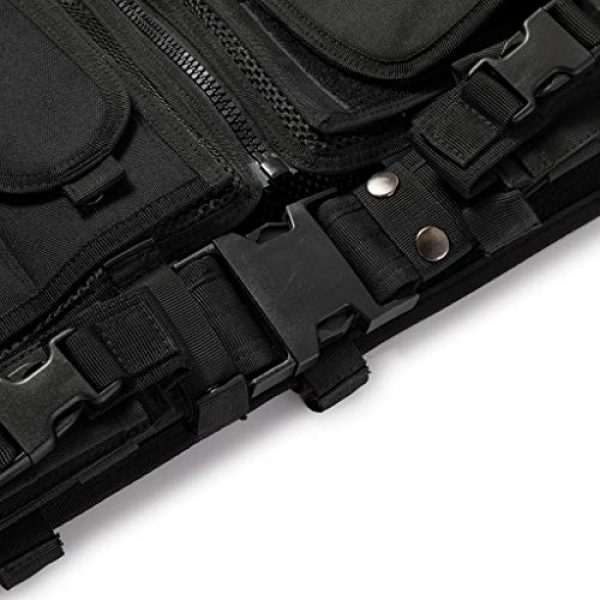 Jipemtra Airsoft Tactical Vest 4 Jipemtra Tactical MOLLE Airsoft Vest Adjustable Paintball Combat Training Vest Detachable for Hunting Mountaineering Outdoors (Black)