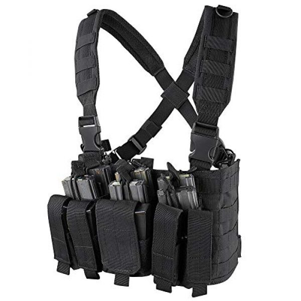 ATG Airsoft Tactical Vest 1 ATG Tactical Recon Rifle Pistol Magazine Pouches Chest Rig (Black)