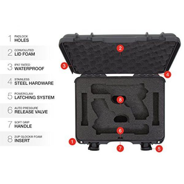 Nanuk Pistol Case 6 Nanuk 910 2UP Waterproof Hard Case w/Custom Foam Insert for Glock Pistols - Graphite