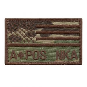 LEGEEON Airsoft Morale Patch 1 LEGEEON APOS A POS Blood Type Multicam OCP USA America Flag NKA NKDA No Known Allergies IFAK Morale Tactical Hook&Loop Patch