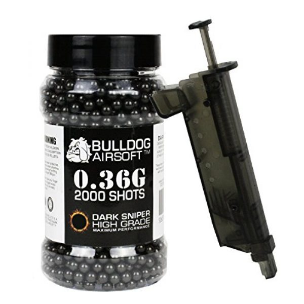 BULLDOG AIRSOFT Airsoft BB 1 Bulldog 0.36g 2000 Dark Sniper Airsoft BB Pellets Black with Speed Loader