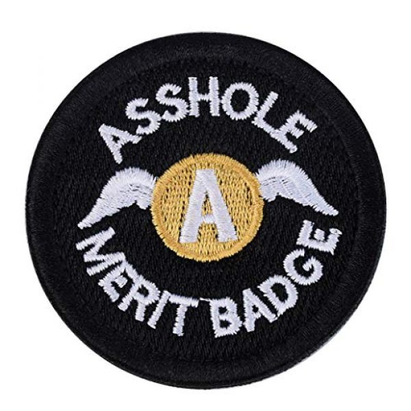 U-LIAN Airsoft Morale Patch 1 U-LIAN Asshole Merit Badge Patch Embroidery Morale Tactical Patch Hook and Loop Molle Attachment