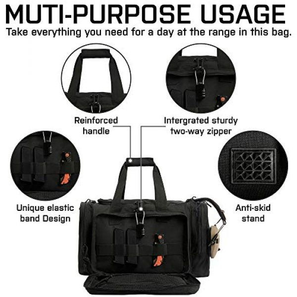 GUAWIN Pistol Case 2 Range Bag Tactical Bag Gun Bag for Handguns Pistol Durable Water Resistant Tactical Duffle Bag with Magazine Gear Accessories Pouch Suitable for Shooting Range, Hunting, Storage and Transport