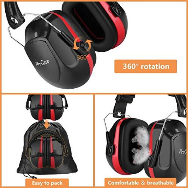 ProCase Pistol Case 7 ProCase Tactical Gun Range Bag Pistol Shooting Duffle Bag Bundle with Noise Reduction Safety Ear Muffs Headset NRR 28dB Earmuffs for Ear Hearing Protection