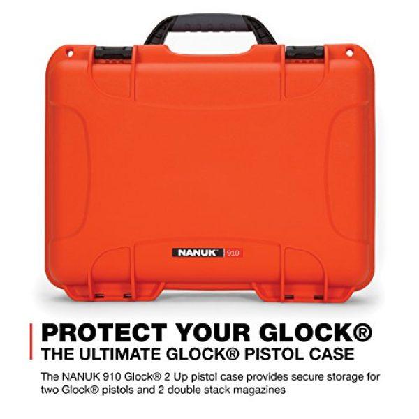 Nanuk Pistol Case 2 Nanuk 910 2UP Waterproof Hard Case w/Custom Foam Insert for Glock Pistols - Orange