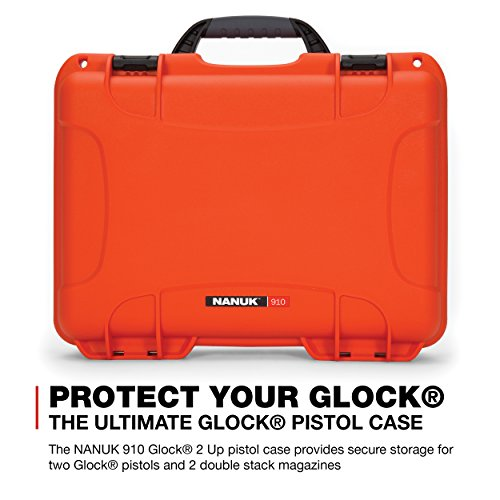 Nanuk Pistol Case 2 Nanuk 910 2UP Waterproof Hard Case w/Custom Foam Insert for Glock Pistols - Orange