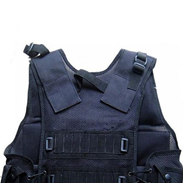 DHLink Airsoft Tactical Vest 3 Tactical Military Hunting Combat Vest with Pistol Gun Holster Pouch Black