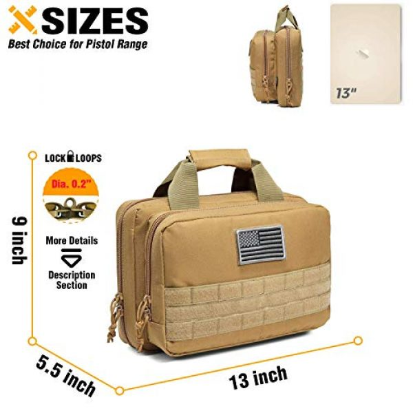 DBTAC Pistol Case 5 DBTAC Range Bag Small for 2X Pistol (Tan) + Pistol Handbag XS for 1~2 Pistol (Tan), Lockable Zipper, Durable Material, Compact Design