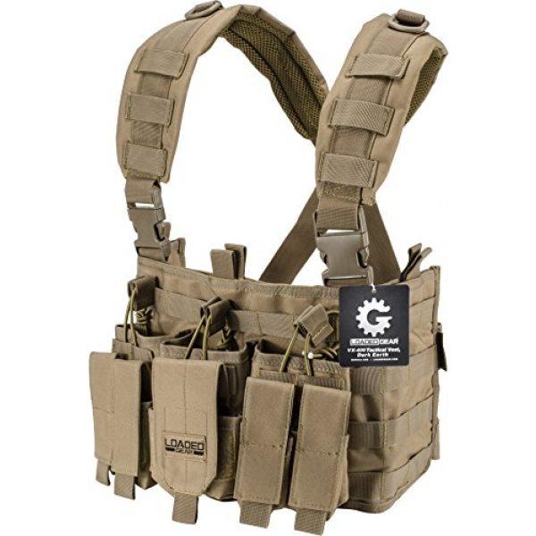 Loaded Gear Airsoft Tactical Vest 1 Loaded Gear Chest Rig Vest Law Enforcement Vest Breathable Combat Training Vest Adjustable Lightweight (Tan)