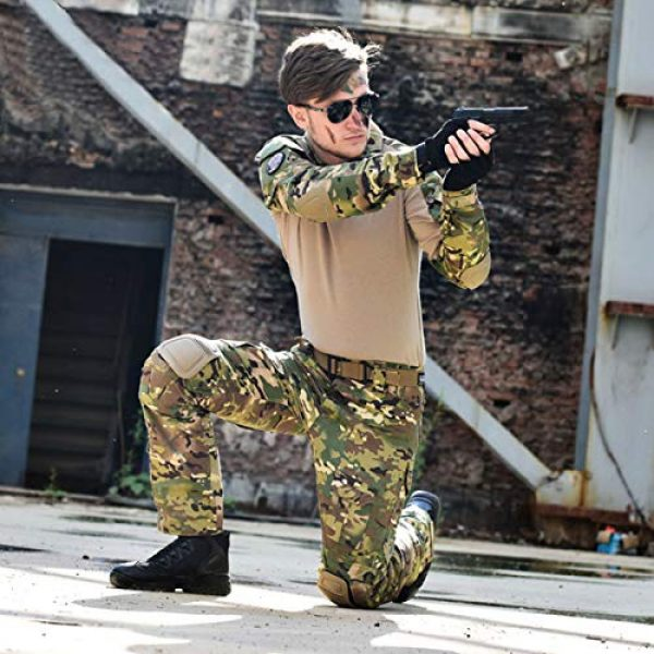 Military Ba Tactical Shirt 2 Men's Tactical Combat Shirt and Pants Set Long Sleeve Multicam Woodland BDU Hunting Military Uniform 1/4 Zip