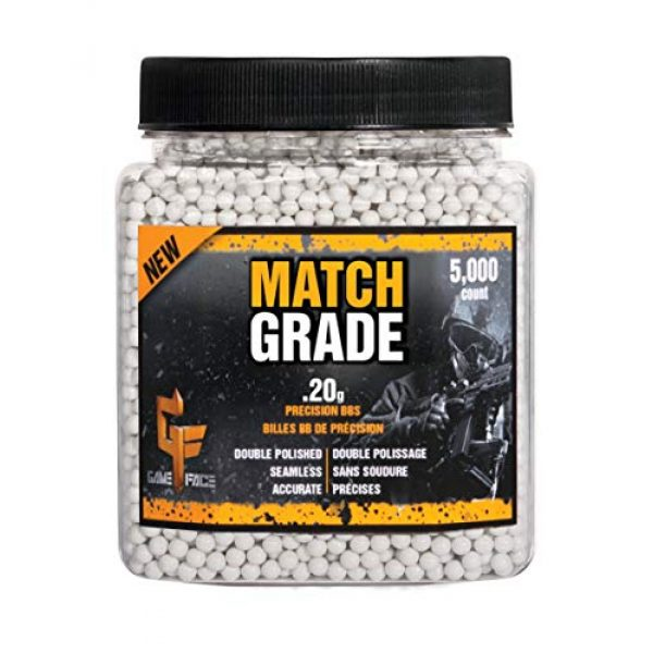 Game Face Airsoft BB 3 Game Face 20GPW5J Match Grade .20-Gram White Airsoft BBs (5000-Count)