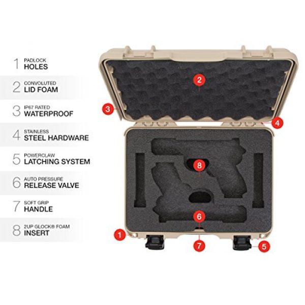 Nanuk Pistol Case 6 Nanuk 910 2UP Waterproof Hard Case w/Custom Foam Insert for Glock Pistols - Tan