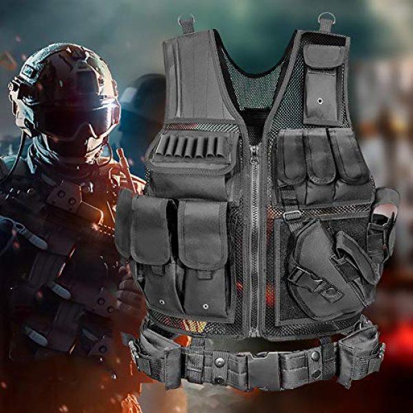 WEQ Airsoft Tactical Vest 7 WEQ Tactical Vest Modular Charge Vest Police Vest Law Enforcement Vest Adjustable Breathable Combat Training Vest