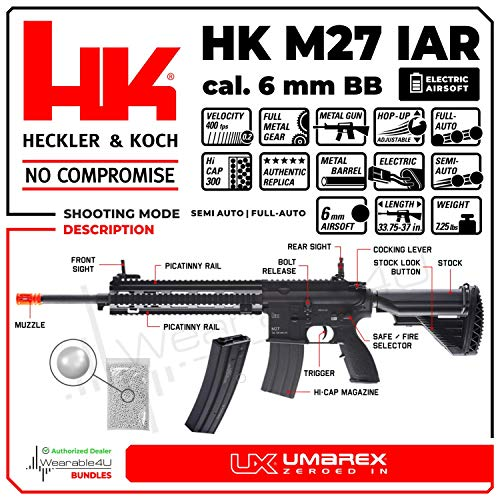 Wearable4U  2 Umarex Elite Force Heckler&Koch HK M27 IAR AEG Electric Airsoft Rifle Gun with Avalon Gearbox with Wearable4U Bundle