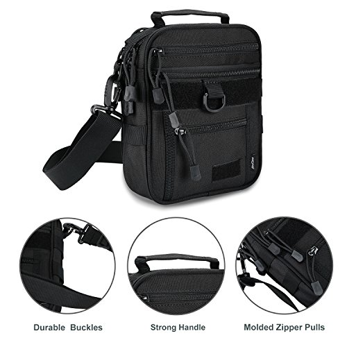 ProCase Pistol Case 3 ProCase Pistol Bag, Military Gear Tactical Handgun Shoulder Strap Bag Gun Ammo Accessories Pouch Shooting Range Duffle Bag for Shooting Range Sport - Black