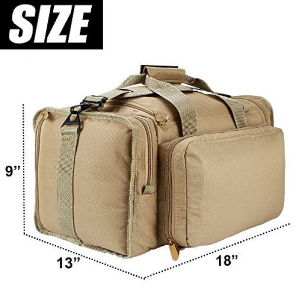 SoarOwl Pistol Case 5 SoarOwl Tactical Gun Range Bag Shooting Duffle Bags for Handguns Pistols with Lockable Zipper and Heavy Duty Antiskid Feet (Tan)