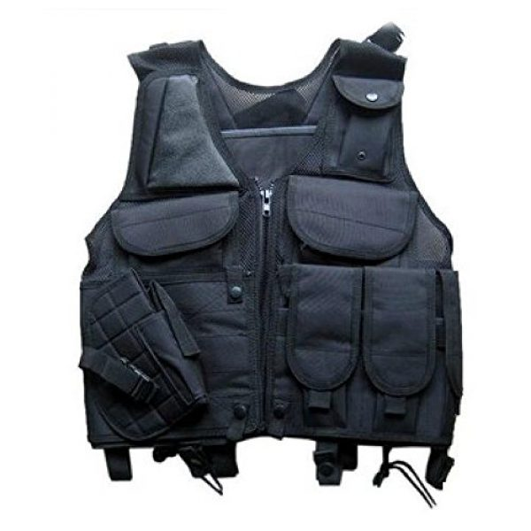 DHLink Airsoft Tactical Vest 2 Tactical Military Hunting Combat Vest with Pistol Gun Holster Pouch Black