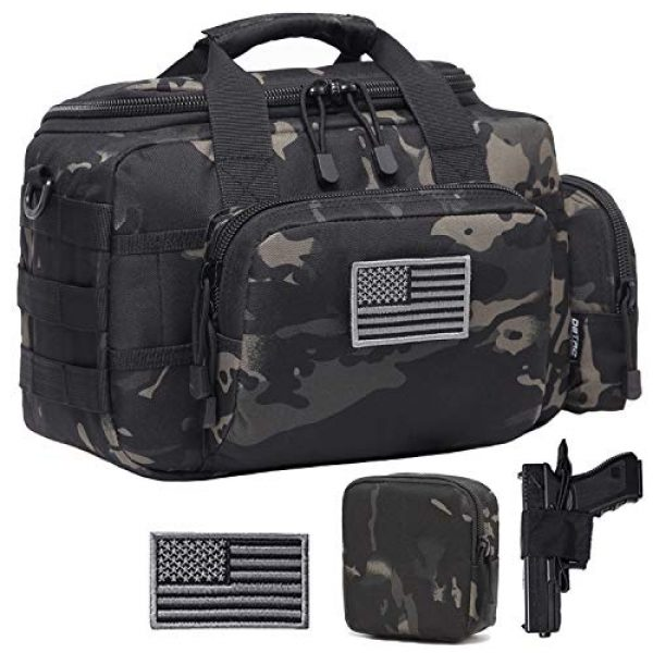 DBTAC Pistol Case 1 DBTAC DO More & BE More Gun Range Bag Small | Tactical 2X Pistol Shooting Range Duffle Bag with Lockable Zipper for Handguns and Ammo | US Flag Patch + MOLLE Pouch + Universal Holster Included