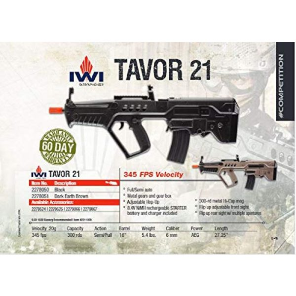 Elite Force Airsoft Rifle 5 Elite Force IWI Tavor AEG 6mm BB Rifle Airsoft Gun, Dark Earth Brown, Tavor 21 (Competition Series), One Size (2278051)