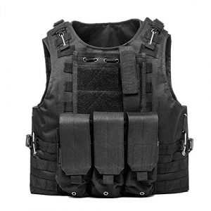 KIDYBELL Airsoft Tactical Vest 1 KIDYBELL Black Adjustable Airsoft Vest Lightweight Oxford Cloth Tactical Training Vest is Suitable for Outdoor Hunting Army Fan Combat Training Airsoft and Other Outdoor Sports