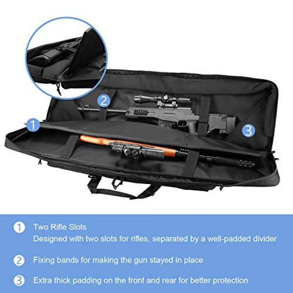 ProCase Rifle Case 2 ProCase Double Rifle Bag, Tactical Long Rifle Pistol Gun Firearm Transportation Carbine Case w/Backpack, MOLLE, Lockable Compartments