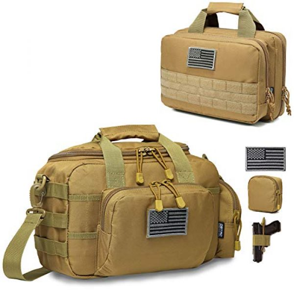 DBTAC Pistol Case 1 DBTAC Range Bag Small for 2X Pistol (Tan) + Pistol Handbag XS for 1~2 Pistol (Tan), Lockable Zipper, Durable Material, Compact Design