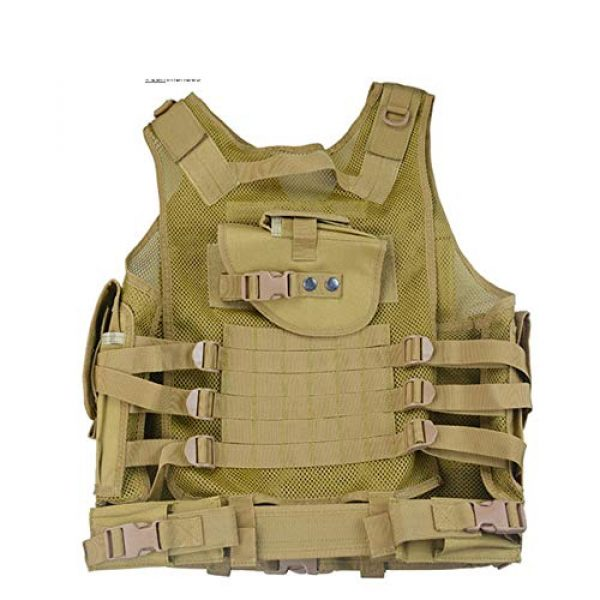 HHFC Airsoft Tactical Vest 3 HHFC Tactical Vest Military Airsoft Vest Adjustable Breathable Combat Training Vest for Outdoor Hunting, Fishing, Army Fans, Survival Game, Combat Training