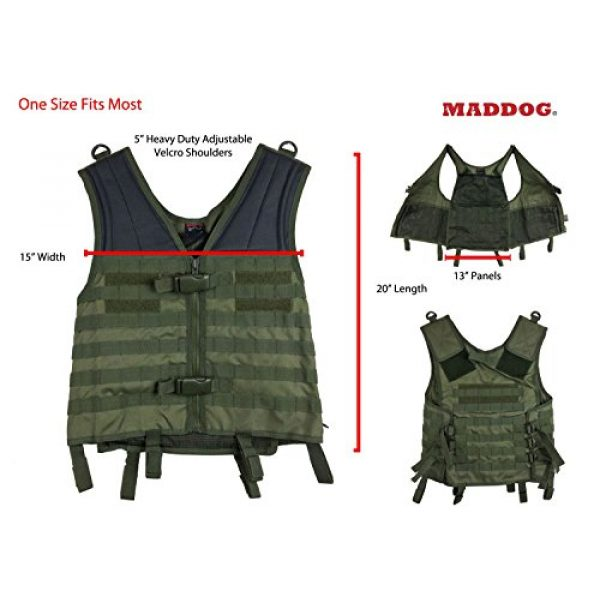 Maddog Airsoft Tactical Vest 4 Maddog Tactical MOLLE Modular Utility Vest with Breathable Mesh Liner and Heavy Duty Zipper - Adjustable Sizing