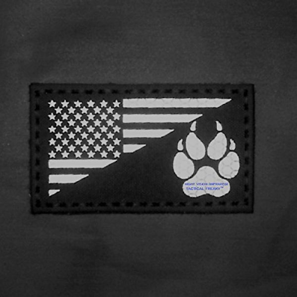 Tactical Freaky Airsoft Morale Patch 2 Coyote IR K9 Dog Handler Paw K-9 USA Flag Brown Tan Infrared Tactical Morale Hook&Loop Patch