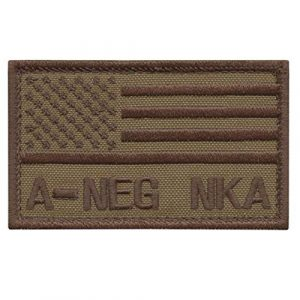 LEGEEON Airsoft Morale Patch 1 LEGEEON ANEG A NEG Blood Type Tan Coyote USA America Flag NKA NKDA No Known Allergies IFAK Morale Tactical Fastener Patch