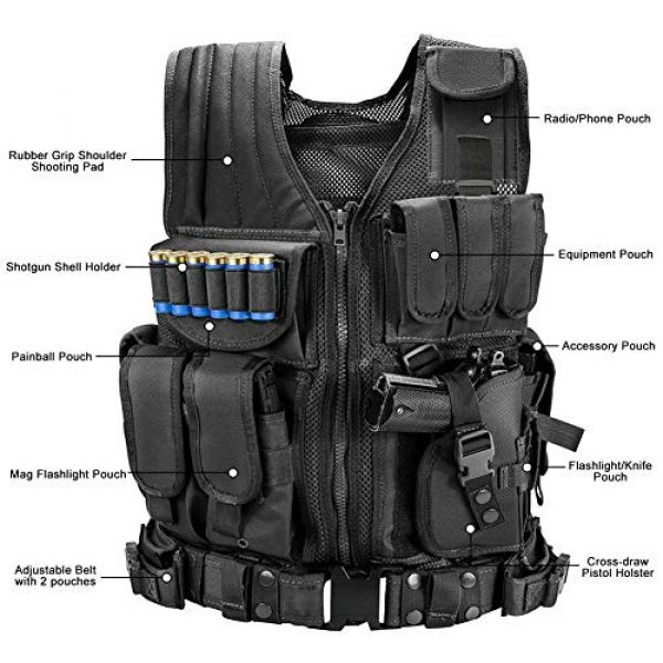 WWahuayuan Airsoft Tactical Vest 3 WWahuayuan Adjustable Tactical Vest Trainning Tactical Airsoft Paintball Ultralight Breathable Combat Training Vest for Adults 600D Encryption Polyester-VT-1063