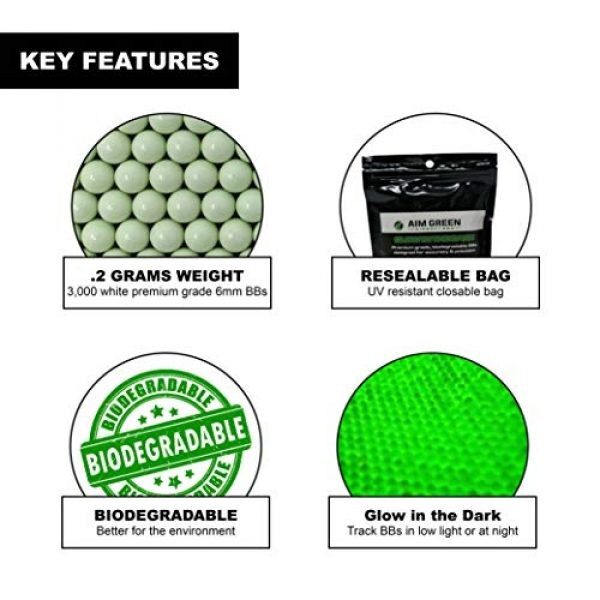 Aim Green Airsoft BB 2 Aim Green: Glow in The Dark Biodegradable Airsoft BBS 6mm - 3,000 Airsoft BBS Pellets .20g Rounds - Spring, Gas, Co2 and AEG Pistols - Precision Rounds for Air Soft Sniper Rifles