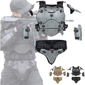 EBWLI Airsoft Tactical Vest 1 EBWLI Paintball Helmet and Armor Set, Hunting Paintball Protective Carrier Shooting Accessories with Waist Belt, for Airsoft/Nerf Game/Paintball,Black (Color : Gray)