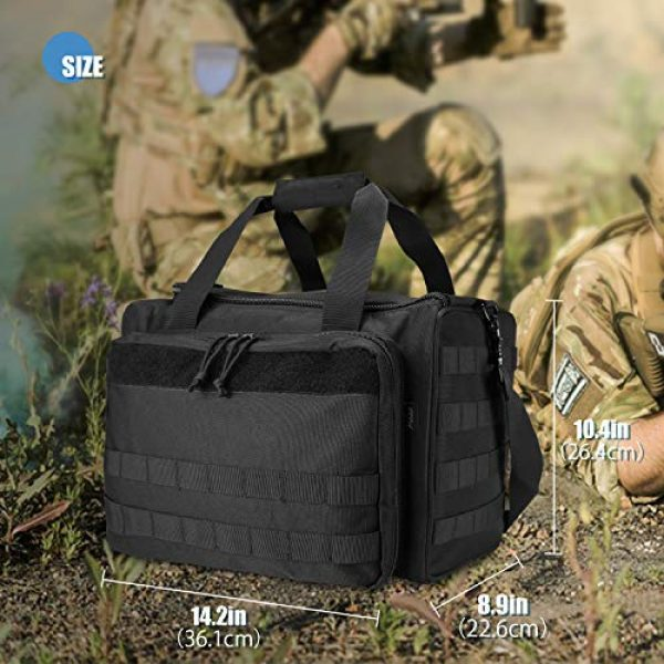 ProCase Pistol Case 3 ProCase Tactical Gun Range Bag for Handguns, Pistols and Ammo, Large Shooting Range Duffle Bags for Magazine Shooting Gear Accessories for Hunting Shooting Range Sport Competetion -Black