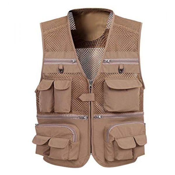 DAFREW Airsoft Tactical Vest 1 DAFREW Mesh Vest Multi-Function Quick-Drying Vest Outdoor Leisure Fishing Vest Multi-Pocket Breathable Vest (Color : Khaki, Size : XL)