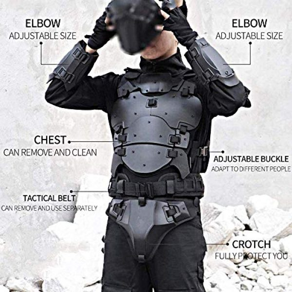 WoSporT Airsoft Tactical Vest 3 Airsoft Vest Body Armor Vests Adjustable Tactical Molle Chest Protector Vest+Elbow+Shoulder+Crotch+Battle Belt Set Paintball Military Combat Training Gear Motorcycle CS Cosplay Movie Costumes