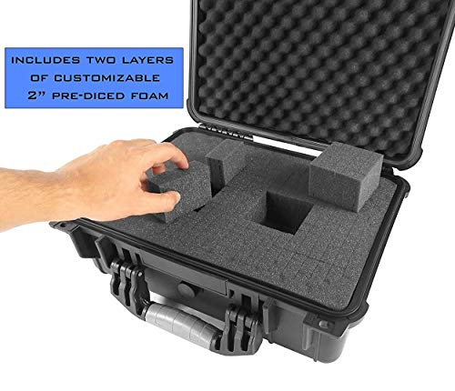 "CASEMATIX Pistol Case 6 CASEMATIX 16"" Customizable 4 Pistol Multiple Pistol Case - Waterproof & Shockproof Hard Gun Cases for Pistols, Magazines and Accessories - Multi Gun Case for Pistols with Two Layers of 2"" Thick Foam"