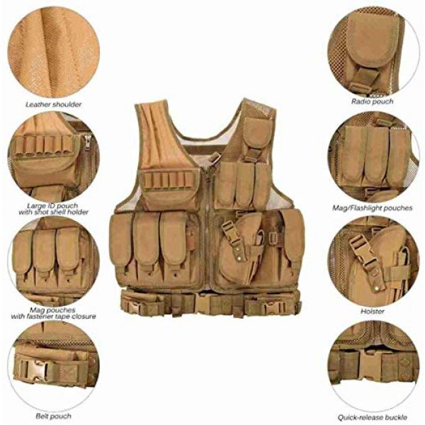 Hunting Explorer Airsoft Tactical Vest 2 600D Polyester Military Equipment air Gun Tactical Vest, Used for Military Combat Training, CS, Paintball Shooting and Other Airsoft Combat Protective Vests.
