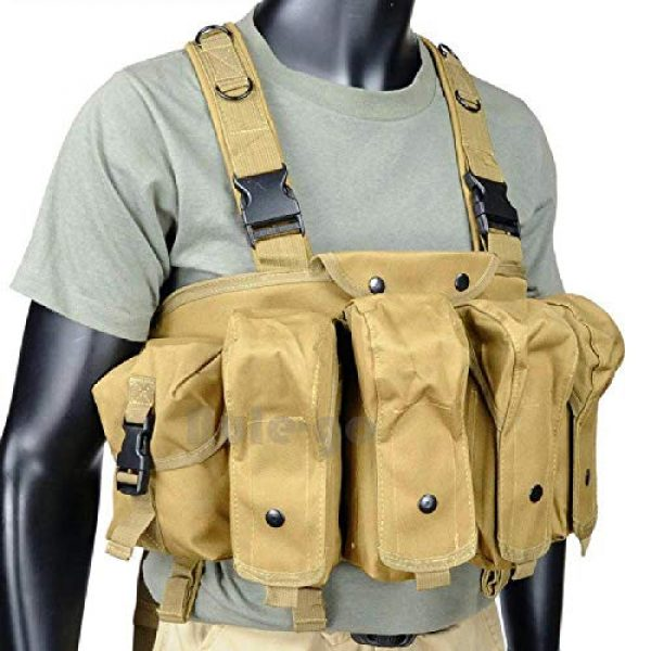 BGJ Airsoft Tactical Vest 2 BGJ Outdoor AK 47 Magazine Carrier Combat Vest Military Camouflage Tactical Vest Airsoft Ammo Chest Rig Hunting Gear