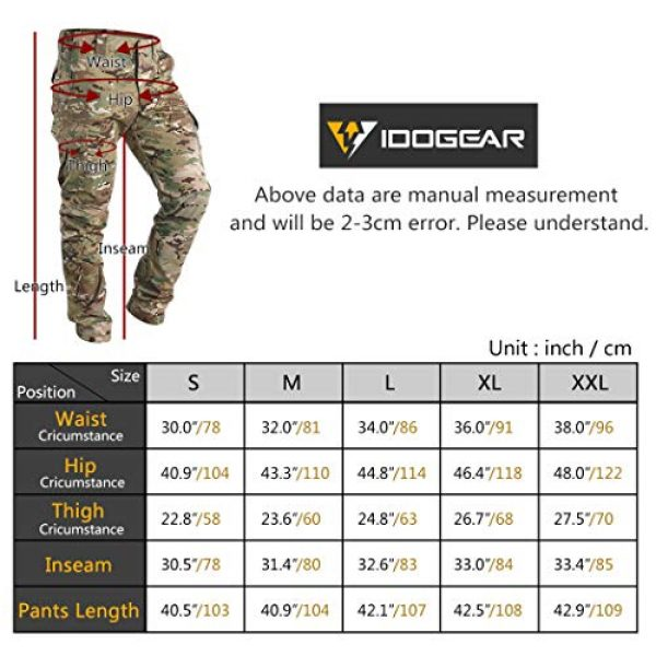 IDOGEAR Tactical Pant 7 GL Tactical Pants Multicam Combat Pants for Airsoft Military Hunting Paintball Outdoor Sports Slim Fit Style