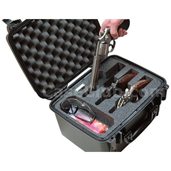 Case Club Pistol Case 4 Case Club Waterproof 3 Revolver/Semi-Auto Pre-Cut Case with Silica Gel to Help Prevent Gun Rust