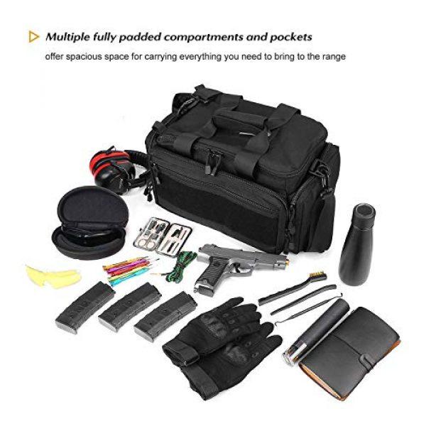 ProCase Pistol Case 2 ProCase Tactical Gun Range Bag Pistol Shooting Duffle Bag Bundle with Tactical Pistol Mag Pouch -Black
