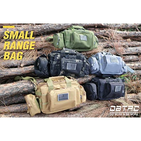 DBTAC Pistol Case 6 DBTAC DO More & BE More Gun Range Bag Small | Tactical 2X Pistol Shooting Range Duffle Bag with Lockable Zipper for Handguns and Ammo | US Flag Patch + MOLLE Pouch + Universal Holster Included