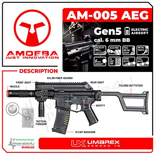 Wearable4U  2 Umarex Elite Force Amoeba AM-005 AEG Electric Automatic 6mm BB Rifle Airsoft Gun (Gen5) with Wearable4U Bundle
