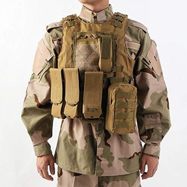 JFFLYIT Airsoft Tactical Vest 7 JFFLYIT Outdoor Sports Tactical Vest Wear Resistant Durable Combat Training Vest Breathable Adjustable CS Vest with Bag Khaki