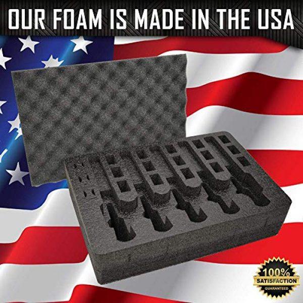 MY CASE BUILDER Pistol Case 3 Pistol & Magazine Storage Foam Insert for Pelican P-1500 Case -2 Piece Set Pre-Cut Military Grade Polyethylene Foam Base Insert and Lid Liner (Case Not Included)